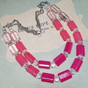 Vintage Signed Napier Crystal & Acrylic Necklace